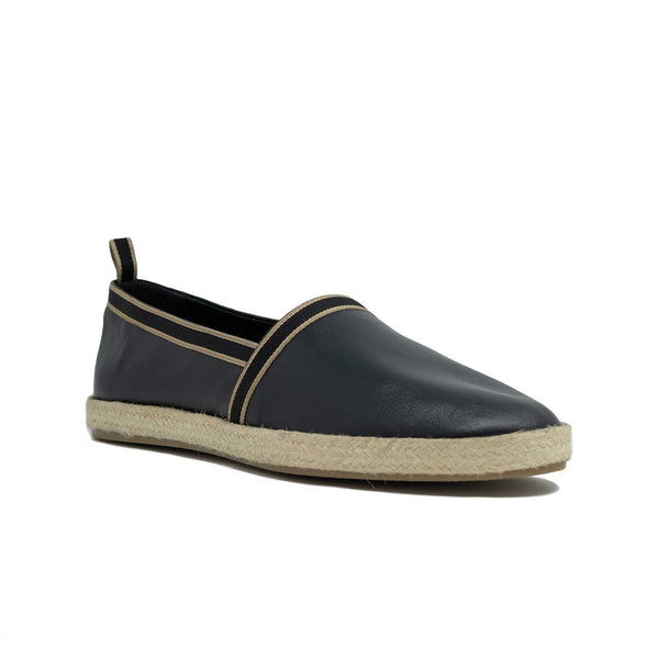 WALK London Nappa Espadrille Black Leather