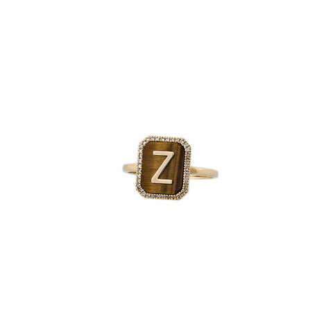 TIGERS EYE PAVE ALPHABET RING