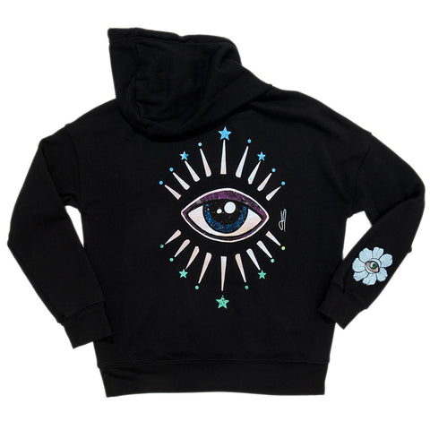 STAR BURST EYE BLACK HOODIE
