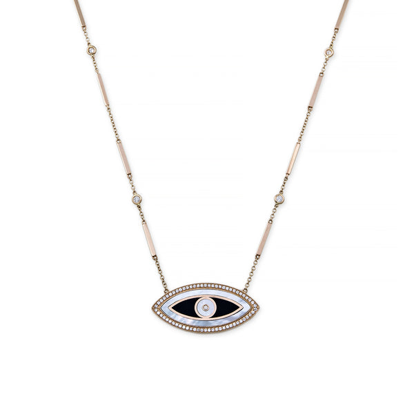 LARGE ONYX, MOTHER OF PEAR MARQUISE INLAY EYE NECKLACE