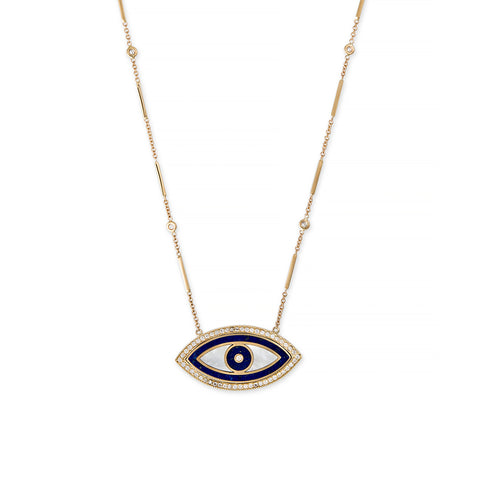 LARGE LAPIS, PEARL MARQUISE INLAY EYE NECKLACE