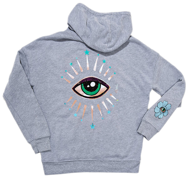 STAR BURST EYE GREY HOODIE