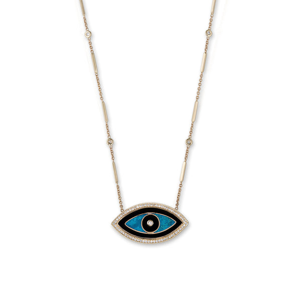 LARGE ONYX, TURQUOISE MARQUISE INLAY EYE NECKLACE