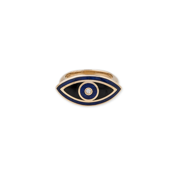 MEDIUM LAPIS, ONYX MARQUISE EYE INLAY RING
