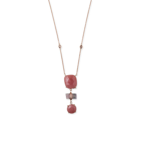 GUAVA QUARTZ AND TOURMALINE BAR 3-STEP NECKLACE