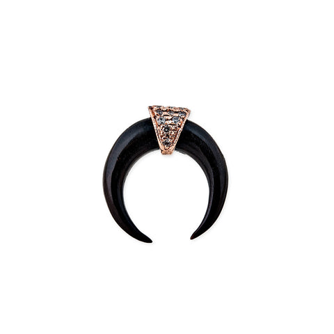 EBONY MINI DOUBLE HORN STUD