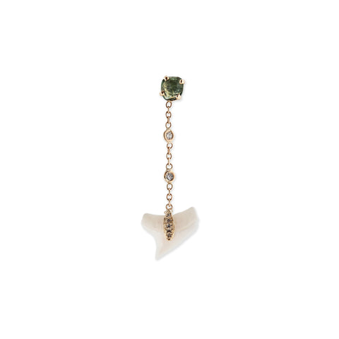 TOURMALINE & SHARK TOOTH CHAIN EARRING
