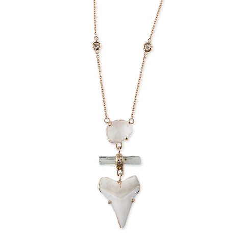QUARTZ + AQUAMARINE + PAVE SHARK TOOTH NECKLACE