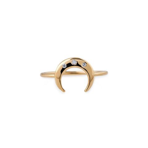 3 CZ MINI CRESCENT RING