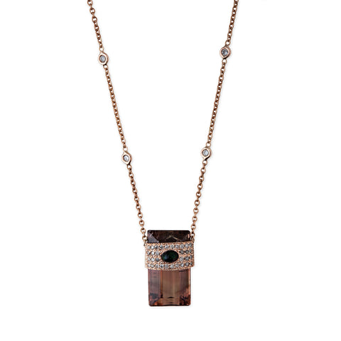 PAVE DIAMOND + BROWN WATERMELON TOURMALINE BAGUETTE NECKLACE