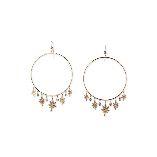5 DIAMOND 5 PAVE SWEET LEAF DREAM CATCHER HOOPS