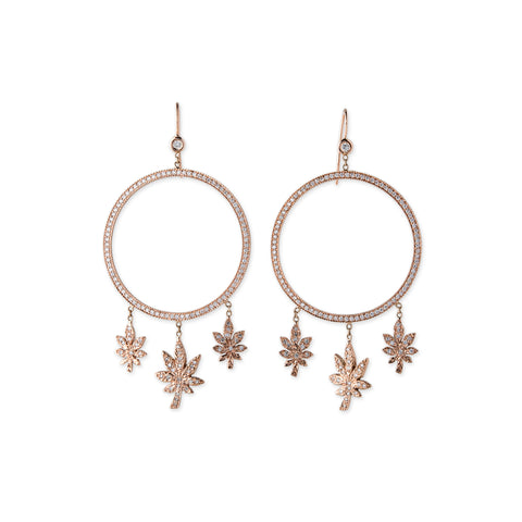 1 DIAMOND PAVE 3 SWEET LEAF DREAM CATCHER HOOPS
