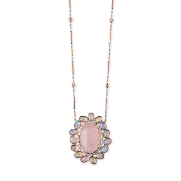PAVE ROSE QUARTZ + OPAL MUFASA NECKLACE