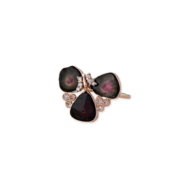 BUTTERFLY DIAMOND CLUSTER 3 WATERMELON SLICE RING