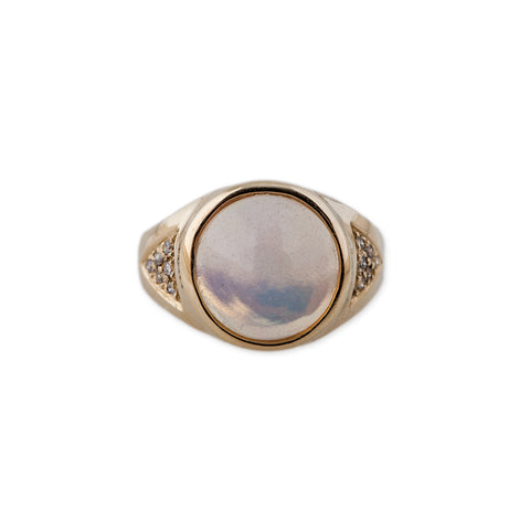 ROUND OPAL SIGNET RING