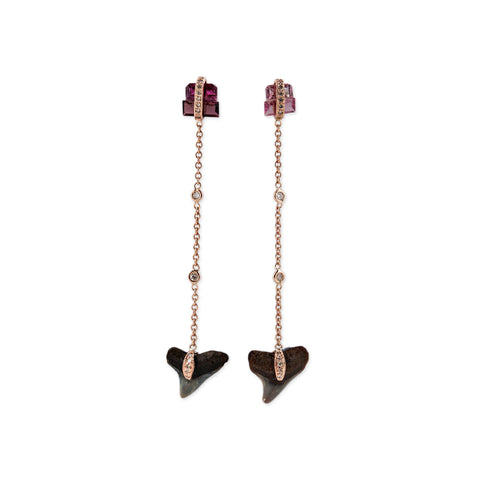 PINK TOURMALINE & SHARK TOOTH CHAIN EARRING