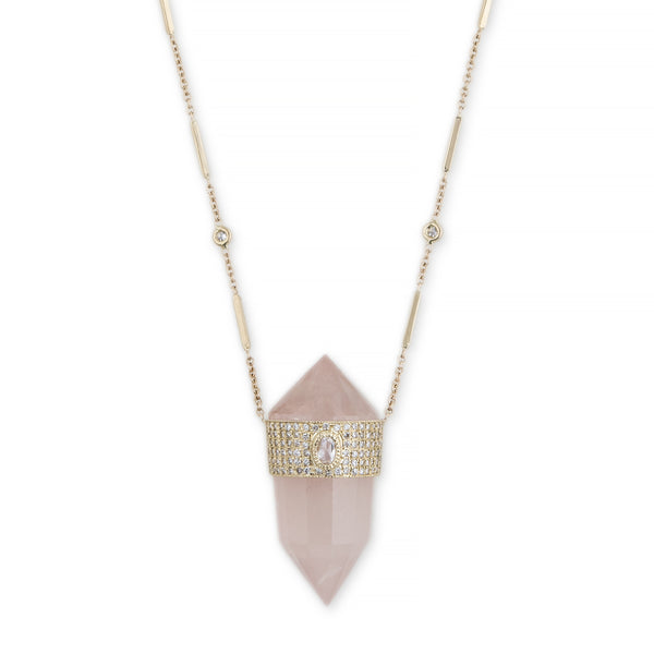 FACETED ROSE QUARTZ + ROSE CUT DIAMOND NECKLACE