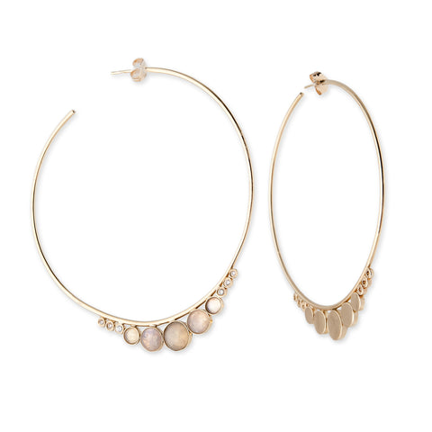 GRADUATED ROUND MOONSTONE HOOPS