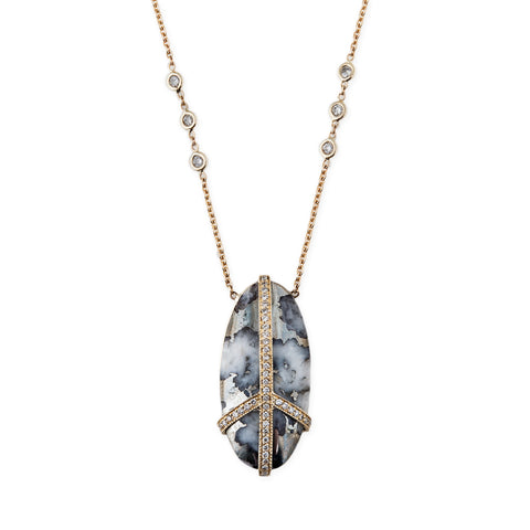 PAVE OVAL PYRITE PEACE NECKLACE