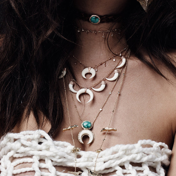 TURQUOISE + DOUBLE BONE HORN NECKLACE