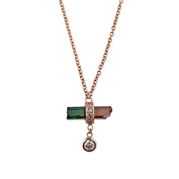 DIAMOND DROP MINI WATERMELON BAR NECKLACE