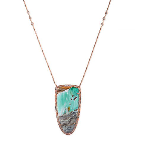 FREEFORM VARISCITE BEZEL NECKLACE