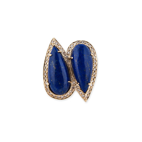 LAPIS TWIN TEARDROP RING