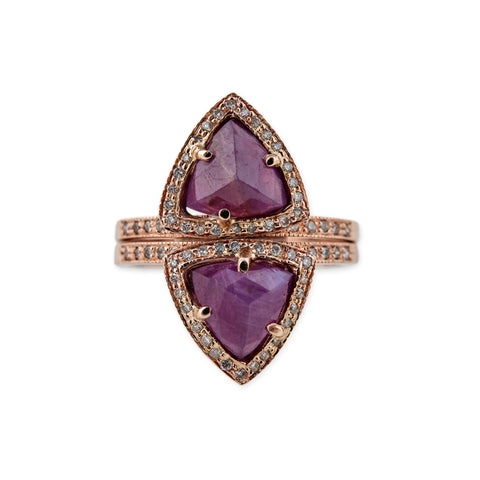 INDIAN RUBY TRIANGLE PYRAMID STACK RING