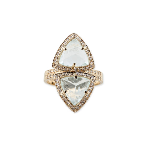 AQUAMARINE TRIANGLE PYRAMID STACK RING