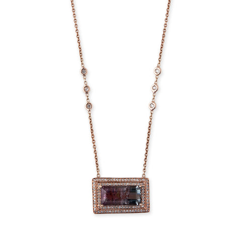 PAVE RECTANGLE WATERMELON TOURMALINE NECKLACE