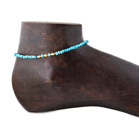 GOLD + TURQUOISE BEADED ANKLET