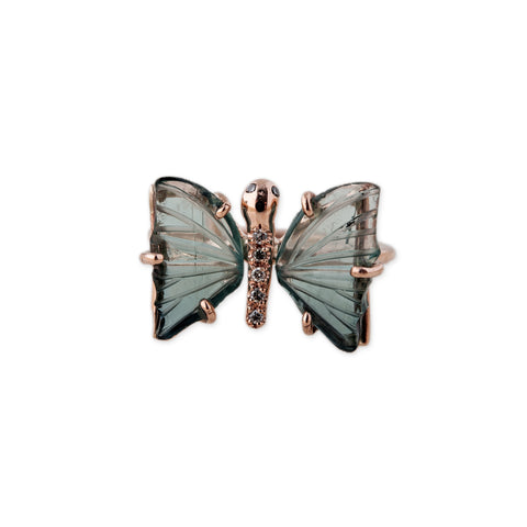 MINI GREEN TOURMALINE BUTTERFLY RING