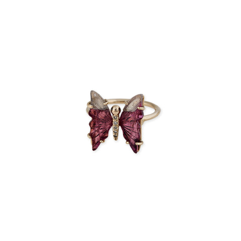MINI WATERMELON TOURMALINE BUTTERFLY RING