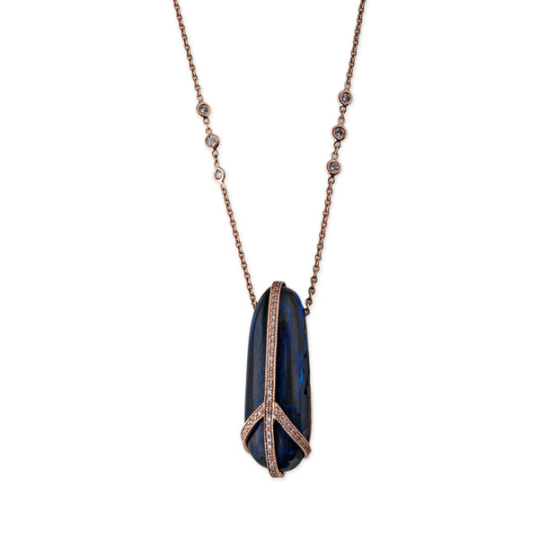 LONG OVAL PAVE AZURITE PEACE NECKLACE