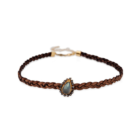 LABRADORITE TEARDROP BROWN BRAIDED CHOKER