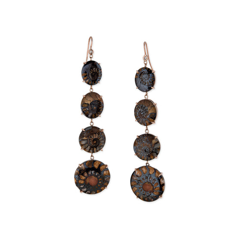 4 GRADUATED AMMONITE DROP EARRINGS