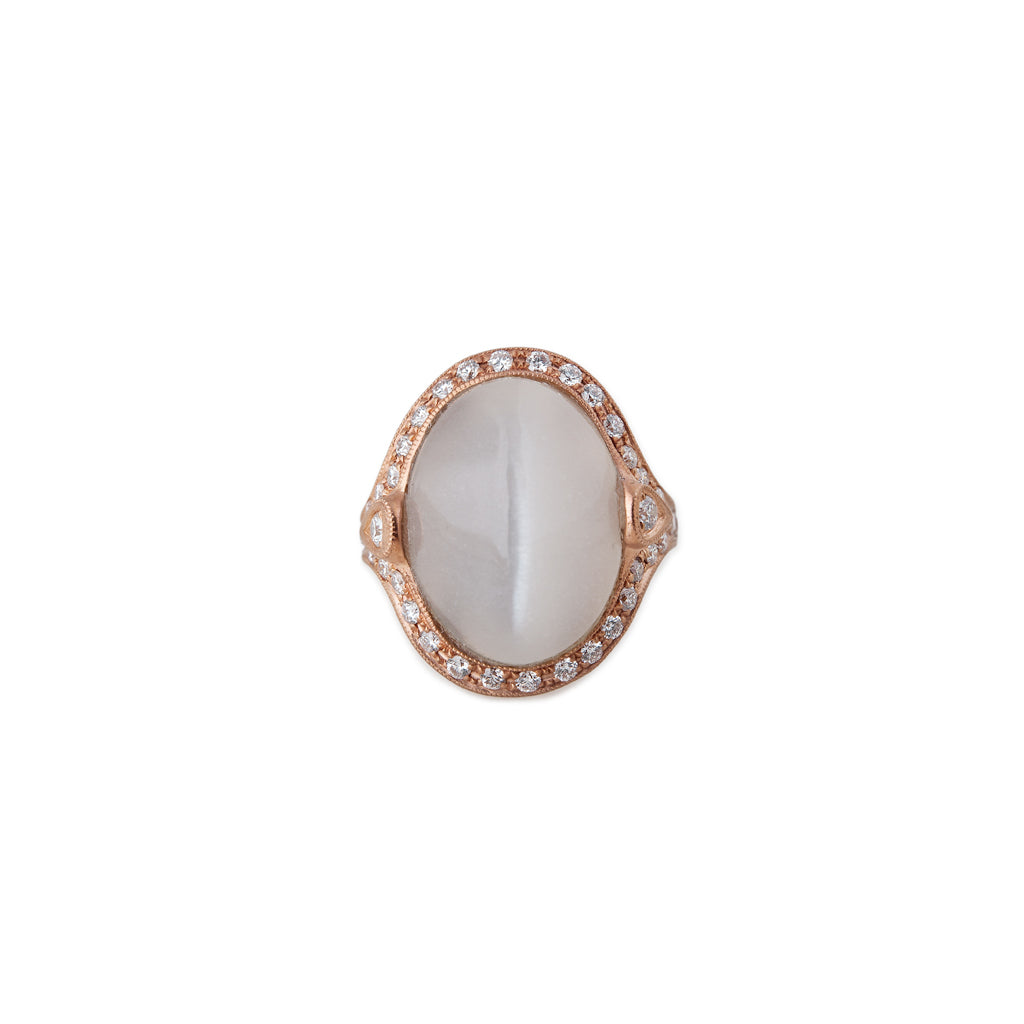 FULL PAVE MOONSTONE OVAL RING