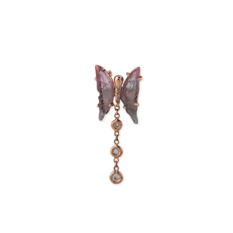 TOURMALINE BUTTERFLY 3 DIAMOND DROP EARRING