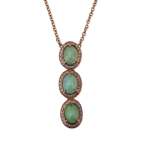 3 BLUE OPAL VERTICAL NECKLACE