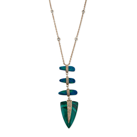 3 OPAL SLICE MALACHITE TRIANGLE NECKLACE