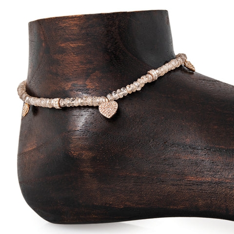 3 PAVE HEART, 2 PAVE RONDELLE BEADED FACETED CHAMPAGNE QUARTZ ANKLET