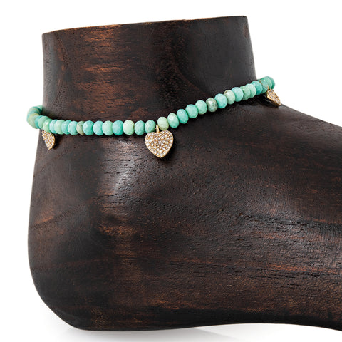 3 GRADUATED PAVE HEART BEADED FACETED CHRYSOPRASE ANKLET
