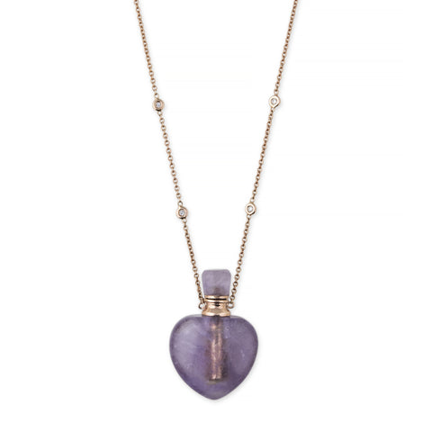 AMETHYST MEDIUM HEART POTION BOTTLE NECKLACE