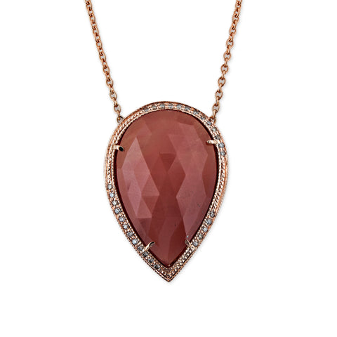 PAVE SUNSTONE TEARDROP NECKLACE
