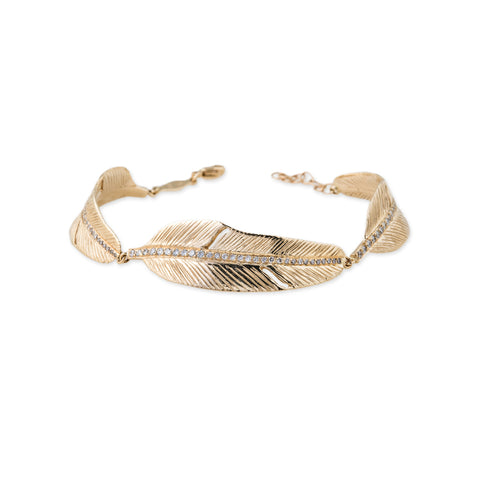 PAVE TRIPLE FEATHER BRACELET