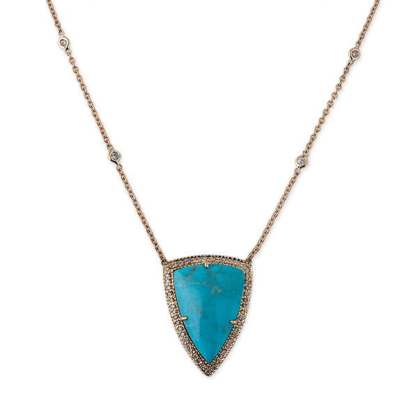 PAVE TRIANGLE TURQUOISE NECKLACE