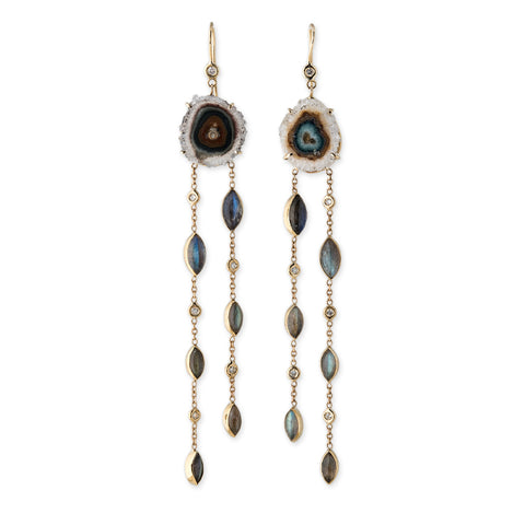AGATE SLICE + LABRADORITE DROP EARRINGS