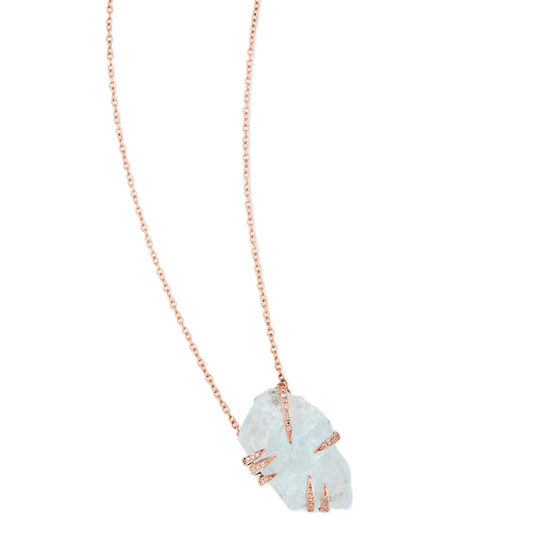 PAVE CLAW AQUAMARINE NECKLACE