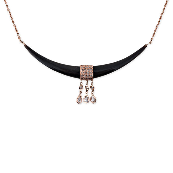 WIDE BLACK HORN + 3 DIAMOND TEARDROP NECKLACE