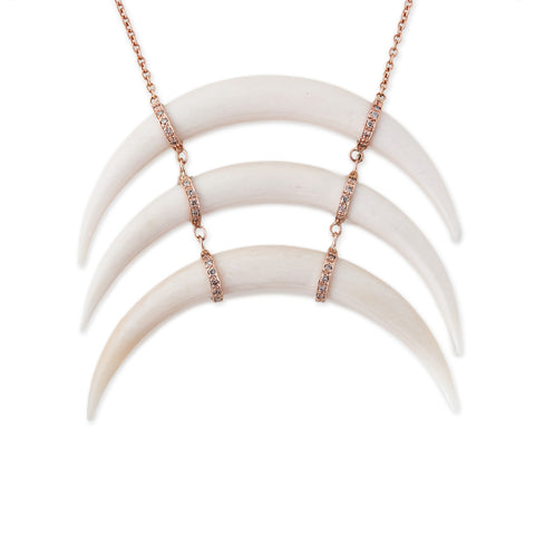 LARGE TRIPLE WIDE HORN NECKLACE WITH PAVE DIAMONDS